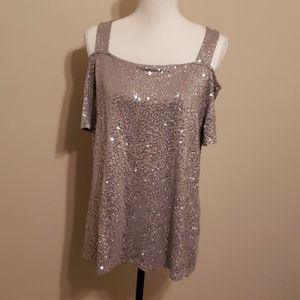NWT Sequin Cold Shoulder Top Gray XL